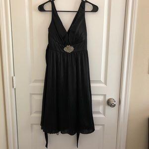 Dresses & Skirts - Satin Black V Neck Dress w Beaded Embellishment